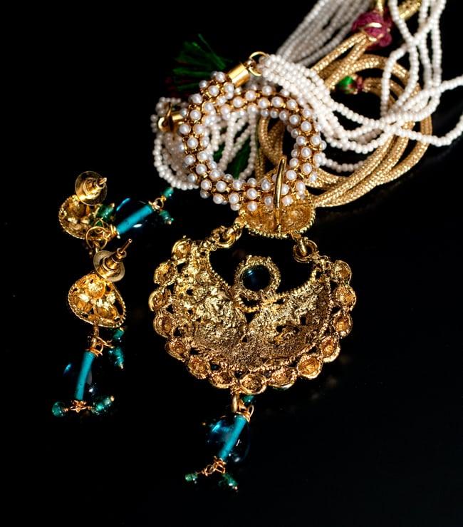 インド伝統アクセサリー ピーコックネックレス&ピアスセットの写真7 - 裏面の写真です