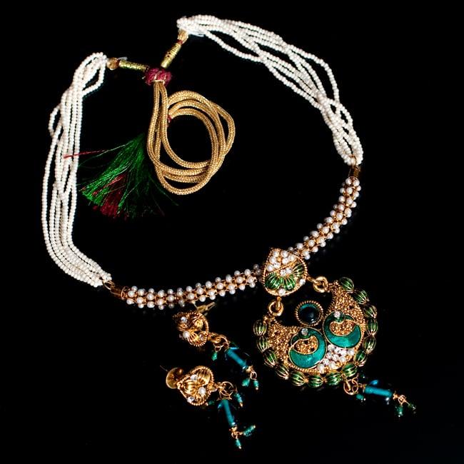 インド伝統アクセサリー ピーコックネックレス&ピアスセットの写真