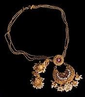 インド伝統アクセサリー ムーンシェイプネックレス&ピアスセット