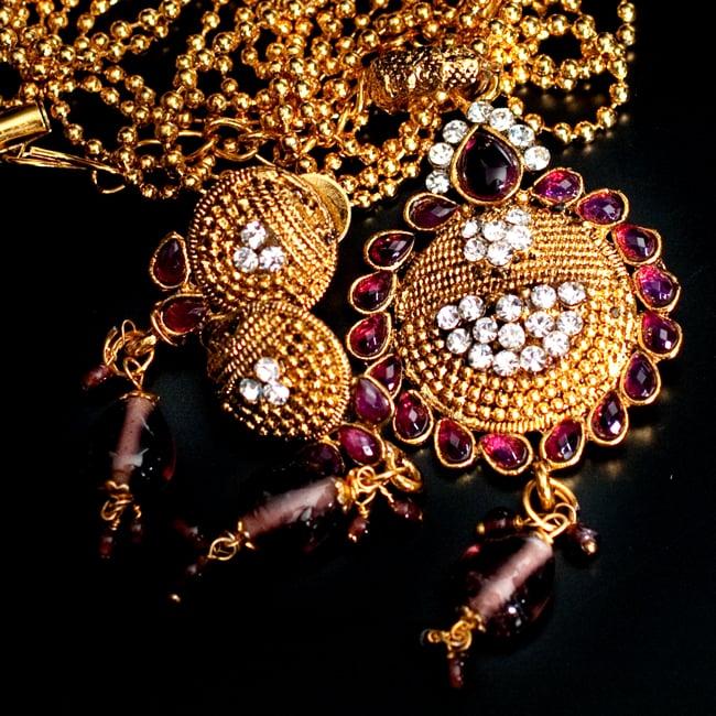 インド伝統アクセサリー フラワーネックレス&ピアスセット 11 - 【選択:E】紫の写真です