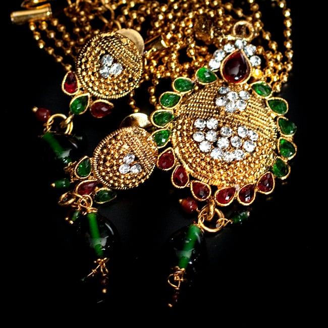 インド伝統アクセサリー フラワーネックレス&ピアスセット 13 - 【選択:G】緑×赤の写真です