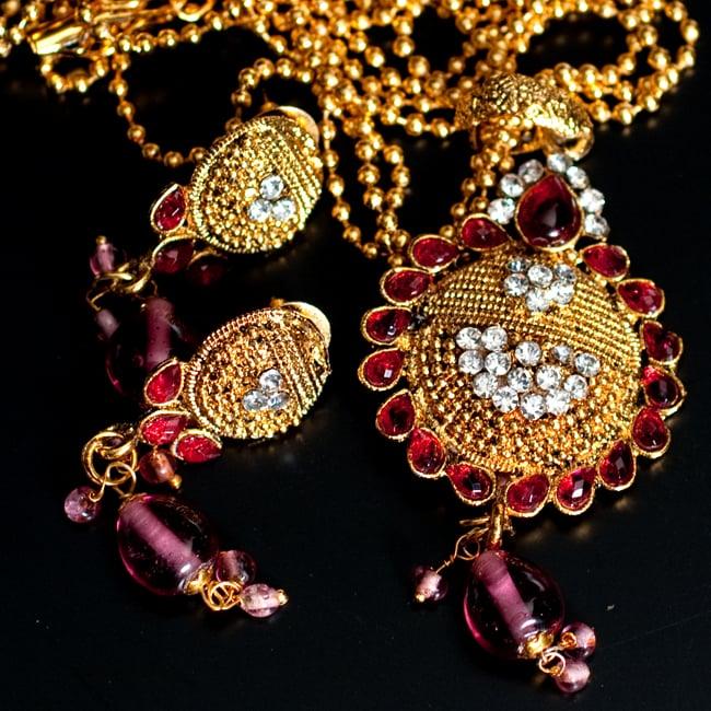 インド伝統アクセサリー フラワーネックレス&ピアスセット 7 - 【選択:A】ピンクの写真です