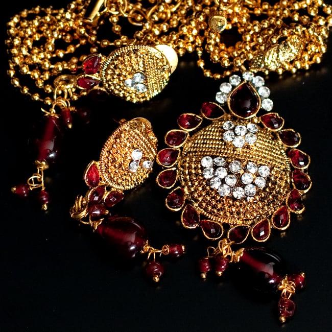 インド伝統アクセサリー フラワーネックレス&ピアスセット 9 - 【選択:C】赤の写真です