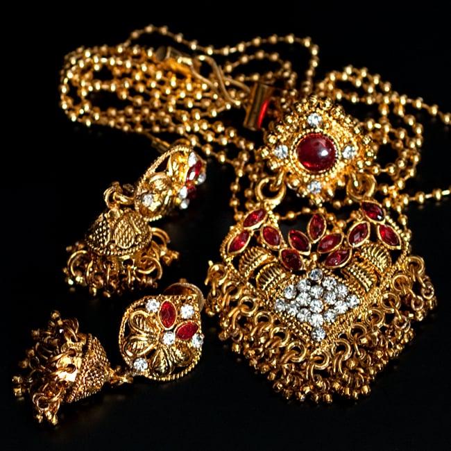 インド伝統アクセサリー ロンブスシェイプネックレス&ピアスセット 11 - 【選択:C】赤の写真です