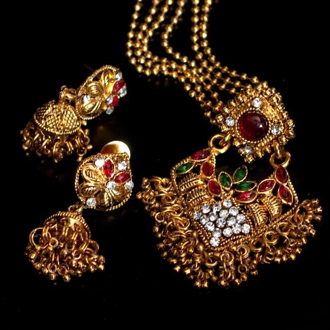 インド伝統アクセサリー ロンブスシェイプネックレス&ピアスセット 14 - 【選択:F】緑×赤の写真です