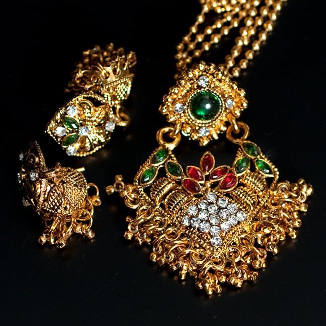 インド伝統アクセサリー ロンブスシェイプネックレス&ピアスセット 15 - 【選択:G】緑×赤の写真です