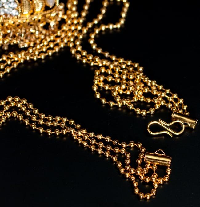 インド伝統アクセサリー ロンブスシェイプネックレス&ピアスセット 3 - 紐部分の拡大写真です