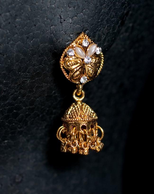 インド伝統アクセサリー ロンブスシェイプネックレス&ピアスセット 5 - ピアスの写真です。こちらも存在感があり綺麗です。