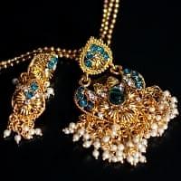 インド伝統アクセサリー ハートシェイプネックレス&ピアスセット