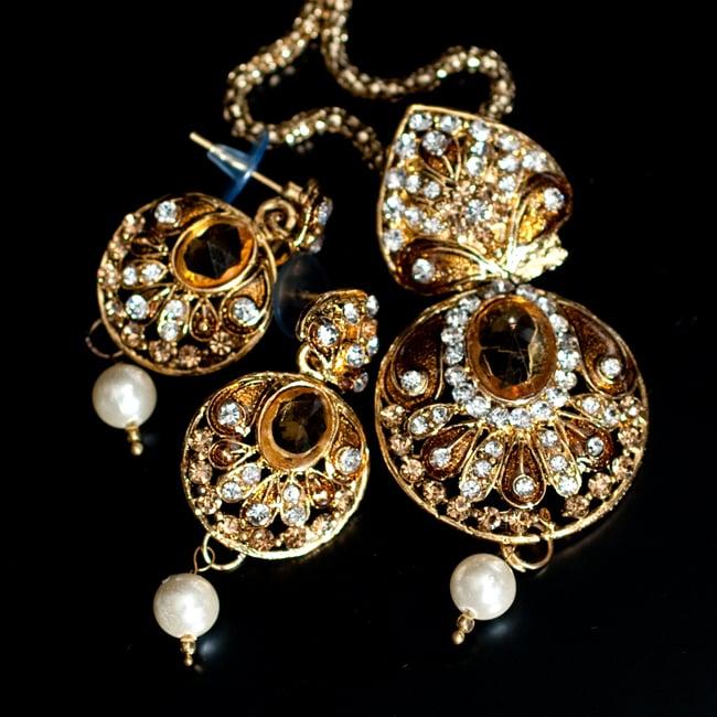 インド伝統アクセサリー 円形ネックレス&ピアスセット 10 - 【選択:B】黄色の写真です
