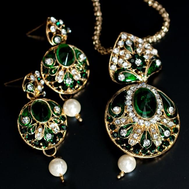 インド伝統アクセサリー 円形ネックレス&ピアスセット 11 - 【選択:C】緑の写真です
