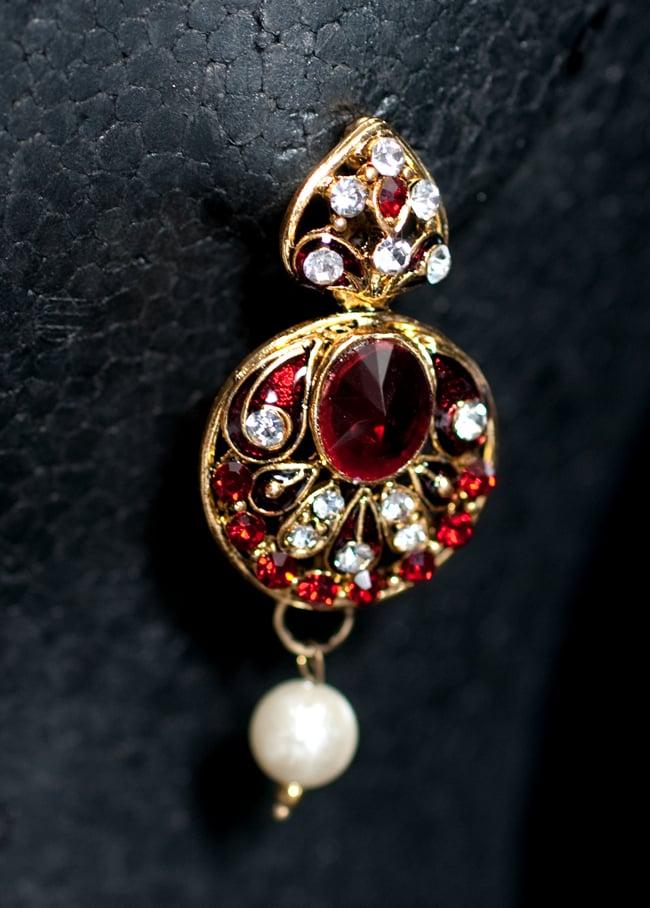 インド伝統アクセサリー 円形ネックレス&ピアスセット 5 - ピアスの写真です。こちらも存在感があり綺麗です。