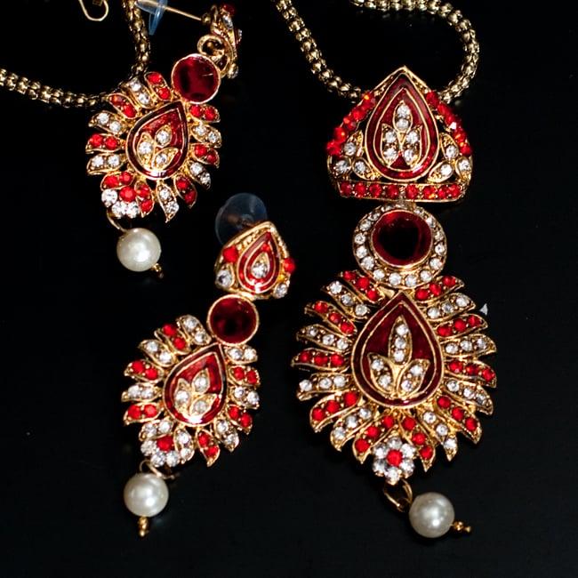 インド伝統アクセサリー リーフネックレス&ピアスセット 10 - 【選択:B】赤の写真です