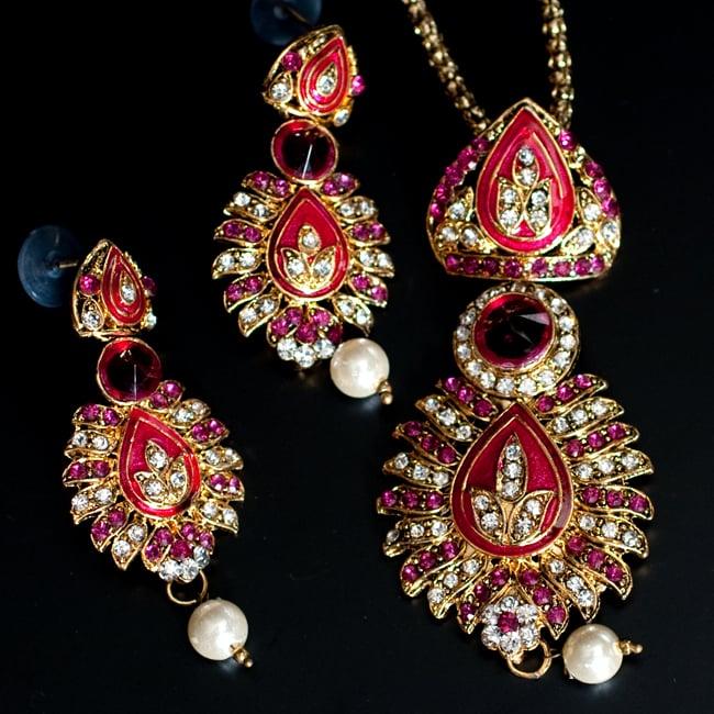 インド伝統アクセサリー リーフネックレス&ピアスセット 11 - 【選択:C】ピンクの写真です