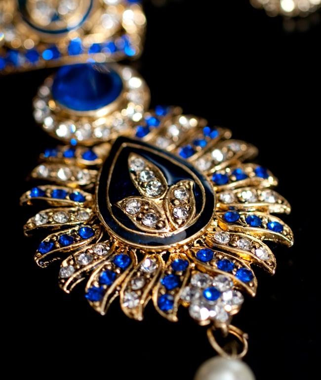 インド伝統アクセサリー リーフネックレス&ピアスセット 4 - ネックレスの拡大写真です。光を受けると美しく輝きます。