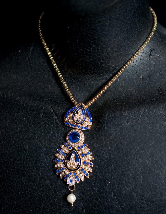インド伝統アクセサリー リーフネックレス&ピアスセット 6 - ネックレスの写真です。マネキンにかけてみました。