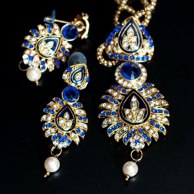 インド伝統アクセサリー リーフネックレス&ピアスセット 9 - 【選択:A】青の写真です
