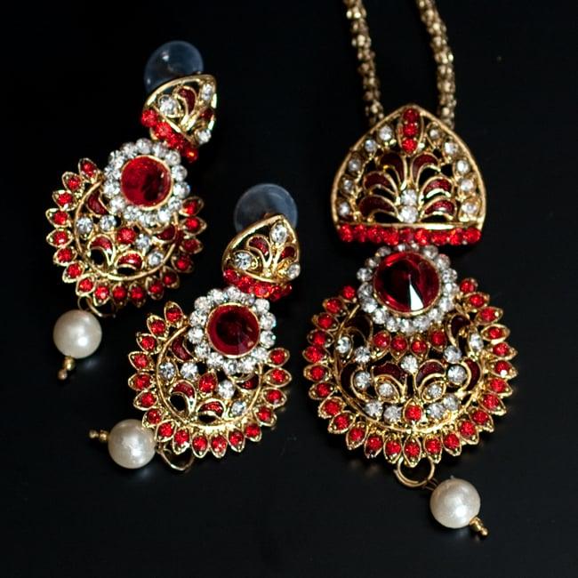 インド伝統アクセサリー フラワーネックレス&ピアスセット 11 - 【選択:C】赤の写真です