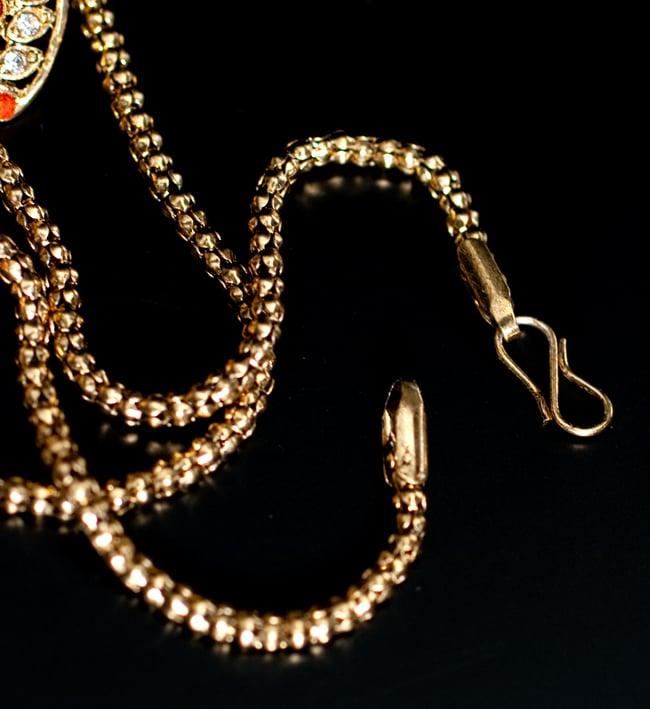 インド伝統アクセサリー フラワーネックレス&ピアスセット 3 - 紐部分の拡大写真です