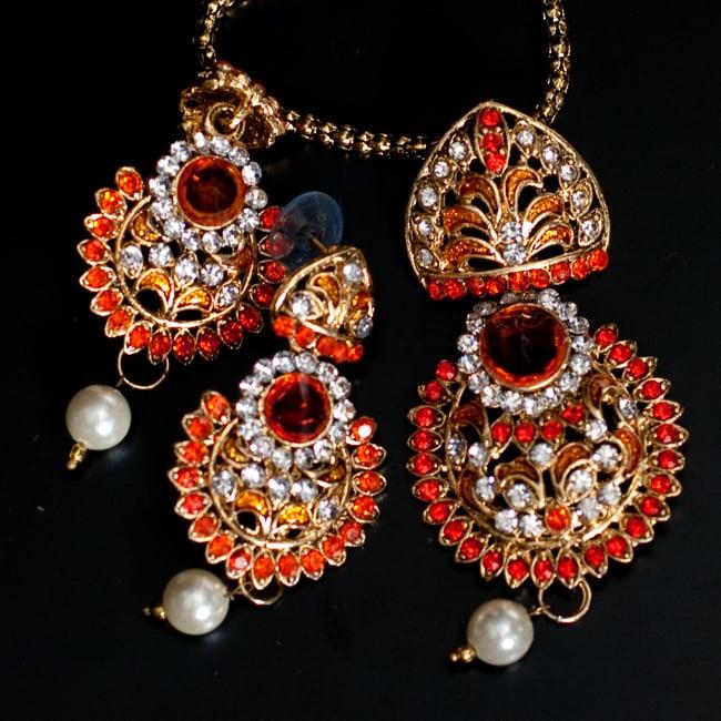インド伝統アクセサリー フラワーネックレス&ピアスセット 9 - 【選択:A】オレンジの写真です