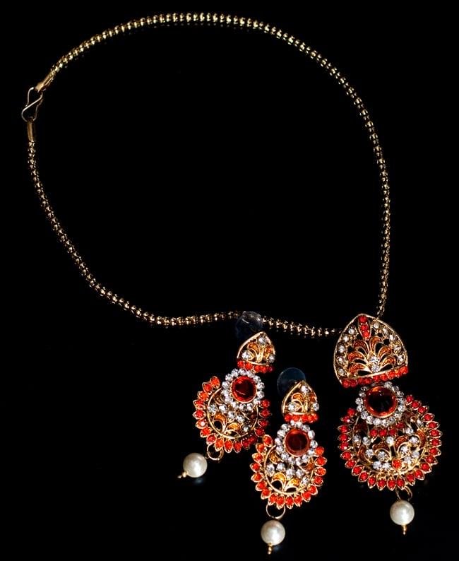 インド伝統アクセサリー フラワーネックレス&ピアスセットの写真