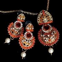 インド伝統アクセサリー フラワーネックレス&ピアスセット