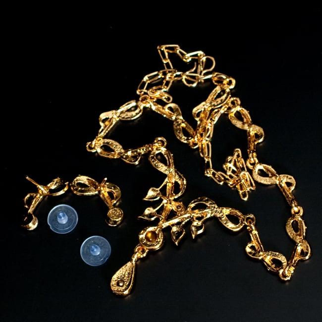 インド伝統アクセサリー シンプルラインストーンのネックレス&ピアスセットの写真7 - 裏面の写真になります
