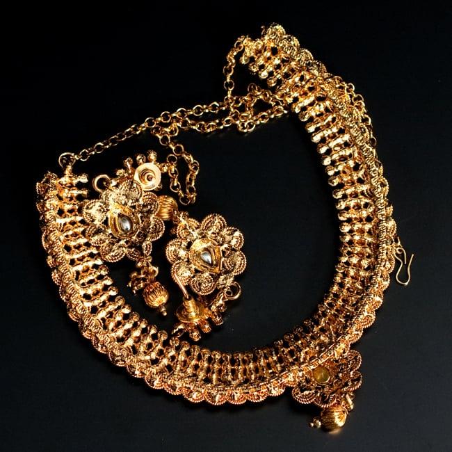 ゴールド・ドクラデザイン ネックレス&ピアスセット インド伝統アクセサリー 7 - 裏面の写真になります