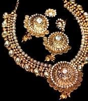 インド伝統アクセサリー クンダンネックレス&ピアスセット