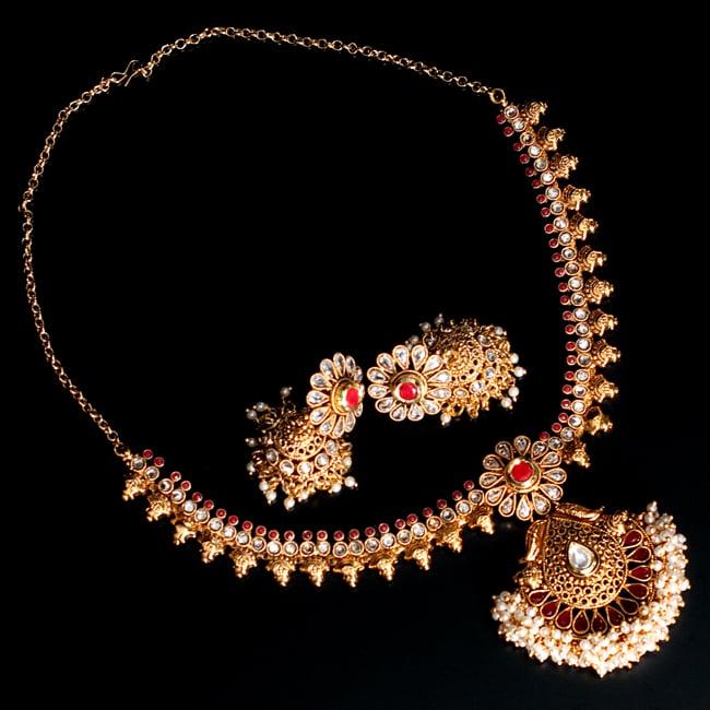 インド伝統アクセサリー クンダンネックレス&ピアスセットの写真
