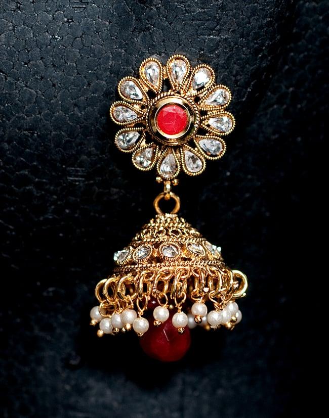 インド伝統アクセサリー クンダンネックレス&ピアスセット 5 - ピアスの写真です。こちらも存在感があり綺麗です。