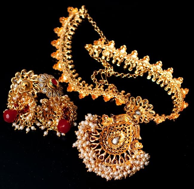 インド伝統アクセサリー クンダンネックレス&ピアスセット 7 - 裏面の写真になります