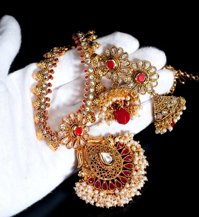 インド伝統アクセサリー クンダンネックレス&ピアスセット 8 - サイズ感はこのくらいです
