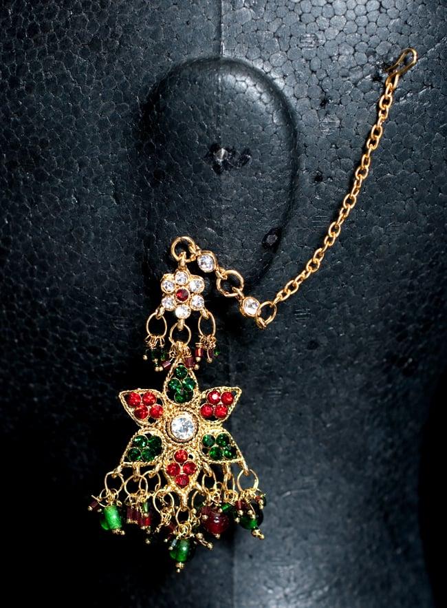 インドアクセサリー3点セット〔ネックレス、ピアス、ティッカ〕 - 赤×緑の写真5 - ピアスの写真です