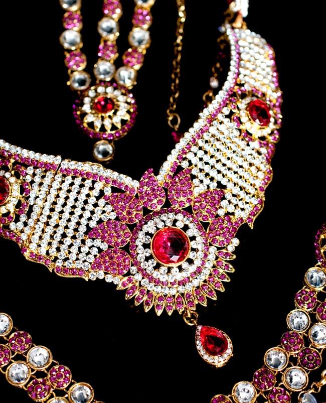 [インド品質]パーティー&婚礼用ジュエリー 豪華9点セット 5 - ネックレスの拡大写真です