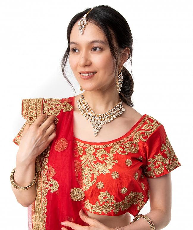 インドアクセサリー3点セット〔ネックレス、ピアス、ティッカ〕 パーティーや結婚式などへ 10 - 別のモデルさんによる、類似品の着用例です。