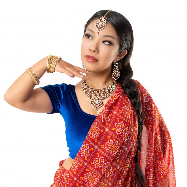 インドアクセサリー3点セット〔ネックレス、ピアス、ティッカ〕 パーティーや結婚式などへ 10 - 着用例です。