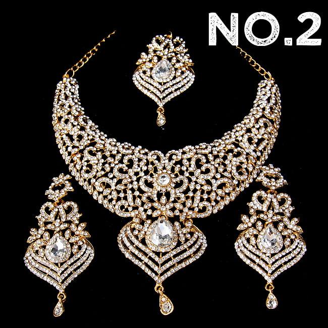 インドアクセサリー3点セット〔ネックレス、ピアス、ティッカ〕 パーティーや結婚式などへ 12 - No.2 ホワイト系