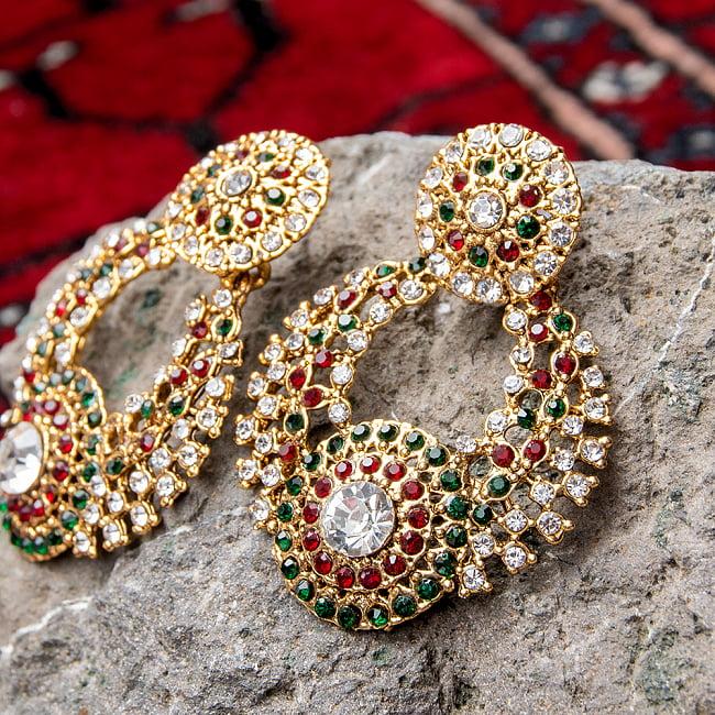 インドアクセサリー3点セット〔ネックレス、ピアス、ティッカ〕 パーティーや結婚式などへ 7 - ピアスの拡大写真です