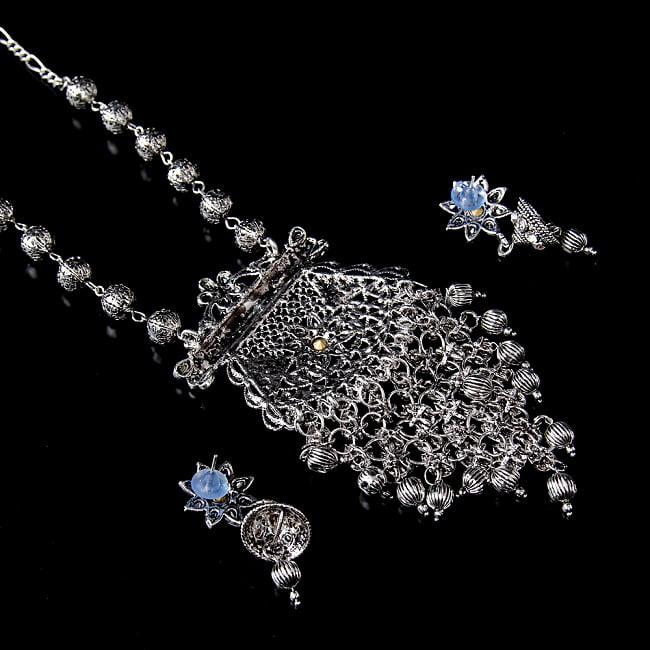 ラバリ族デザイン トライバル・シルバーメタル ネックレス&ピアスセット 5 - 裏面の写真です