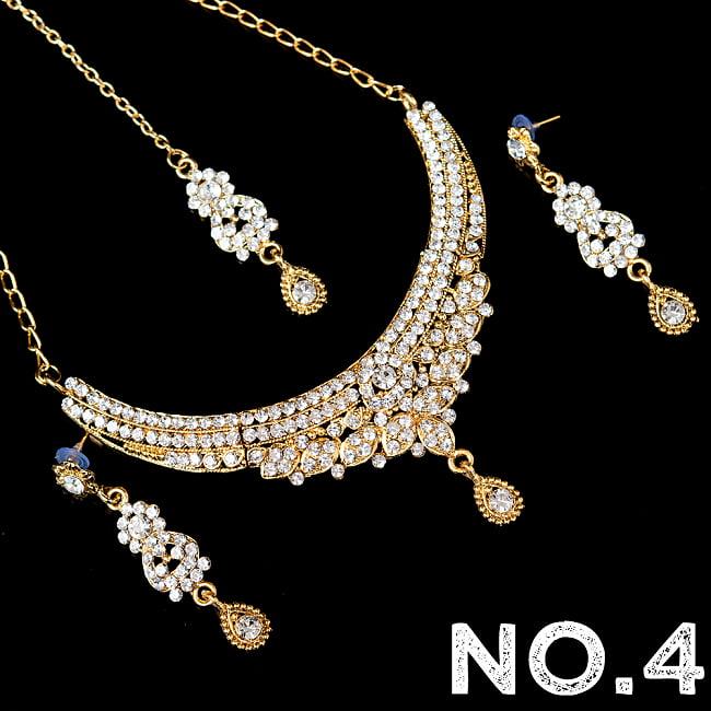 インドアクセサリー3点セット〔ネックレス、ピアス、ティッカ〕 パーティーや結婚式などへ 14 - No.4 ホワイト系