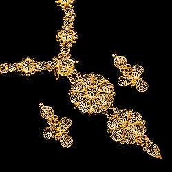 ゴージャス・ゴールド ネックレス&ピアスセット インド伝統アクセサリー