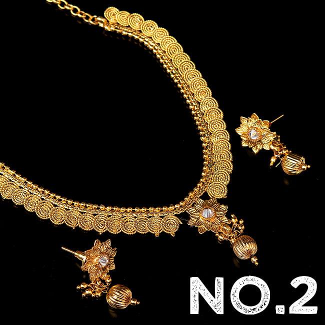 ゴールド・ドクラデザイン ネックレス&ピアスセット インド伝統アクセサリー 10 - デザイン No.2
