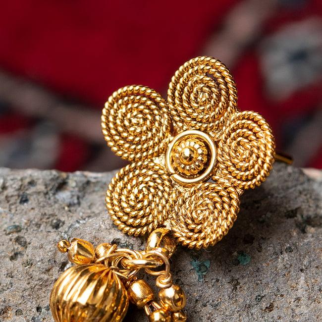 ゴールド・ドクラデザイン ネックレス&ピアスセット インド伝統アクセサリー 8 - とても素敵な雰囲気です