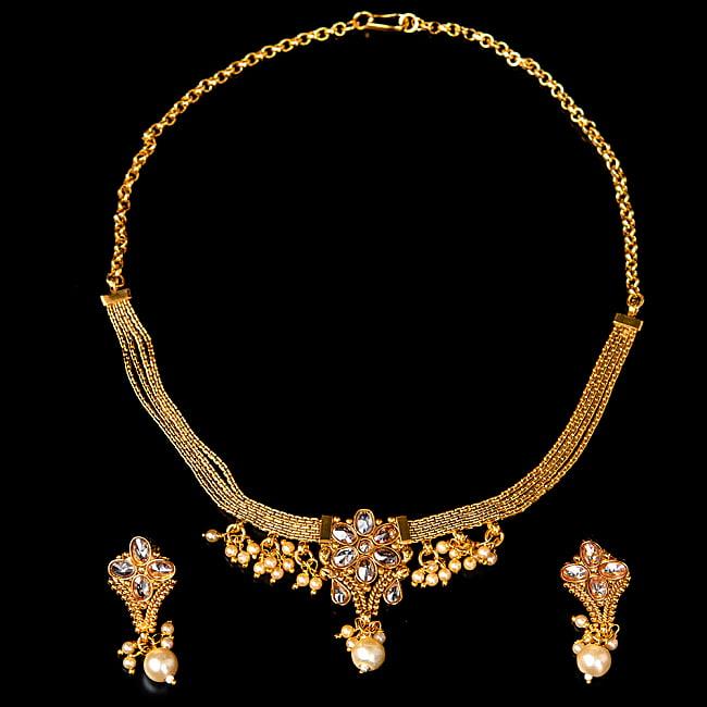 ゴールド・ドクラデザイン ネックレス&ピアスセット インド伝統アクセサリー 2 - 全体写真です