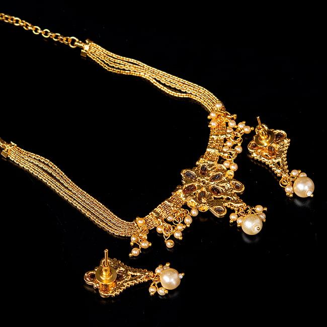 ゴールド・ドクラデザイン ネックレス&ピアスセット インド伝統アクセサリー 5 - 裏面の写真です
