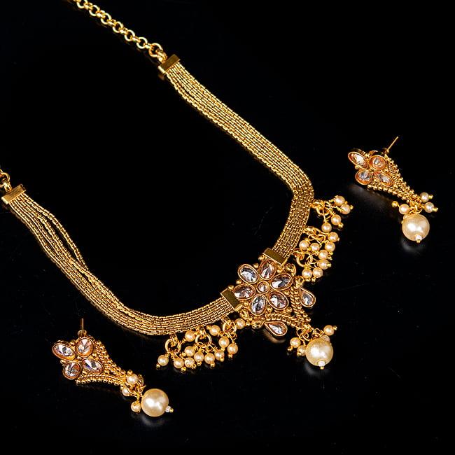 ゴールド・ドクラデザイン ネックレス&ピアスセット インド伝統アクセサリー 1