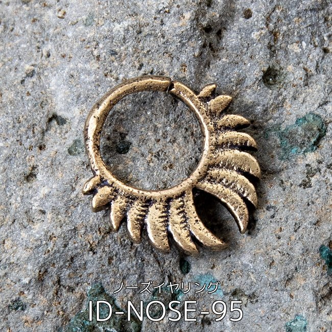 【自由に選べる6個セット】インドの伝統的アクセサリ ノーズリング 5 - インドの伝統的アクセサリ ノーズイヤリング(ID-NOSE-95)の写真です