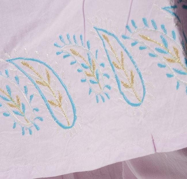 ペイズリー刺繍のルームウェア 【パープル】 3 - 裾にも刺繍があります。