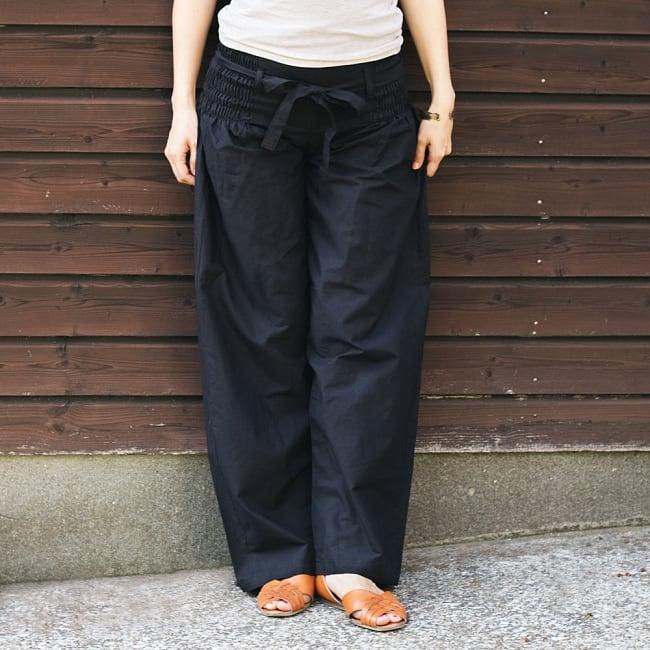 リボンベルトのワイドパンツ 15 - C:ブラック【絞りなし】